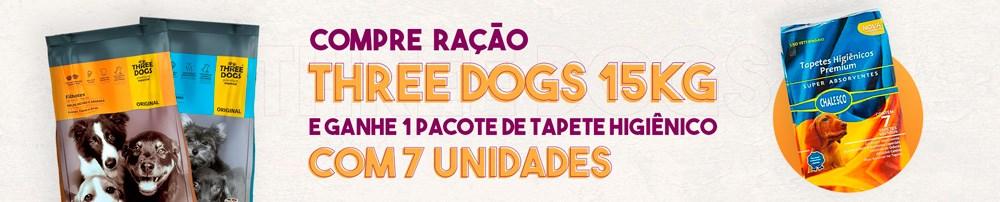 Compre Ração Three Dogs 15kg e ganhe Tapete Higienico