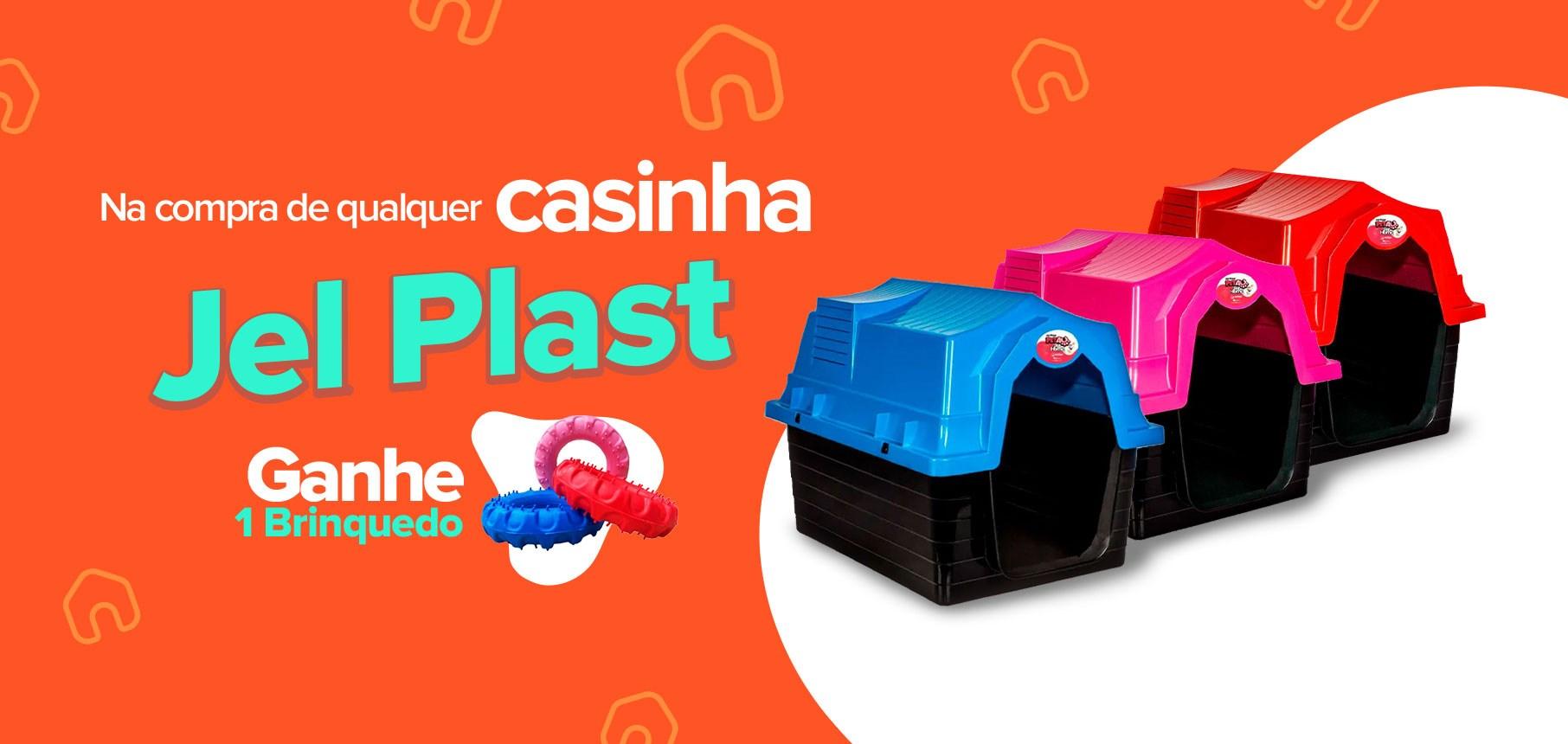 Compre e ganhe: na compra de qualquer casinha Jel Plast ganhe 1 brinquedo