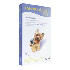 Antipulgas Revolution 12% Cães 2,6 a 5Kg - Zoetis