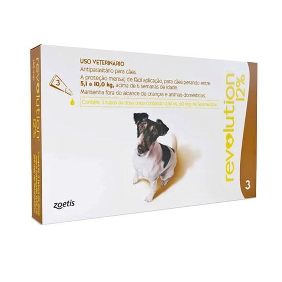 Antipulgas Revolution 12% Cães 5,1 A 10Kg C/3 Pipetas - Zoetis