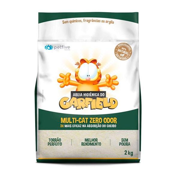 Areia Higiênica Gato Garfield Biodegradável Grão Fino - 2kg