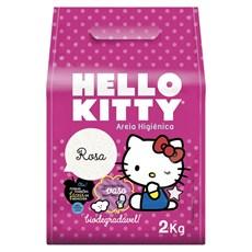 Areia Para Gato Higienica Hello Kitty Bio Grao Fino 2kg Rosa