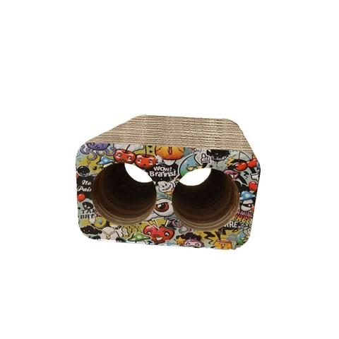 Arranhador para Gatos Brinquedo Toca Box Duplo Redondo Grafite