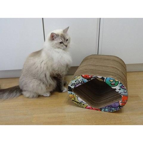 Arranhador para Gatos Brinquedo Toca Box Grafite Colorido Pet Games