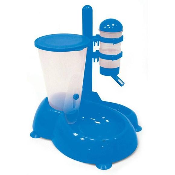 Bebedouro Automatico Com Comedouro Azul Para Caes