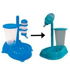 Bebedouro Automático Com Comedouro Azul Para Cães e Gatos