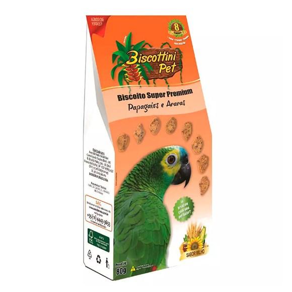 Biscoito Biscottini Pet Para Papagaios Aves da Mata - 80g