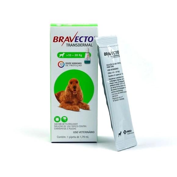 Bravecto Antipulgas e Carrapatos Transdermal Caes 10 A 20Kg
