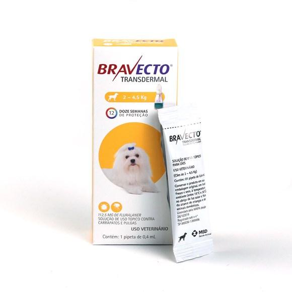 Bravecto Antipulgas e Carrapatos Transdermal Caes 2 A 4,5Kg