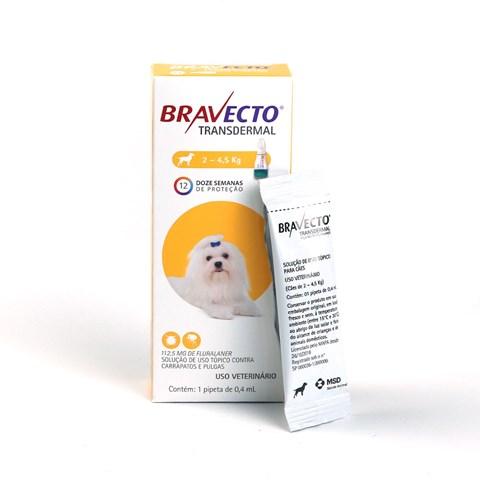 Bravecto Antipulgas e Carrapatos Transdermal para Cães de 2 a 4,5kg 112,5mg