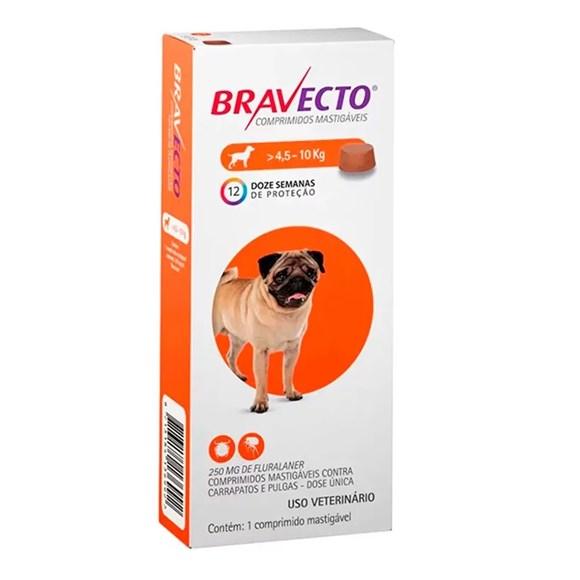 Bravecto Remédio para Carrapato e Pulga em Cachorro 4,5 a 10kg 250mg