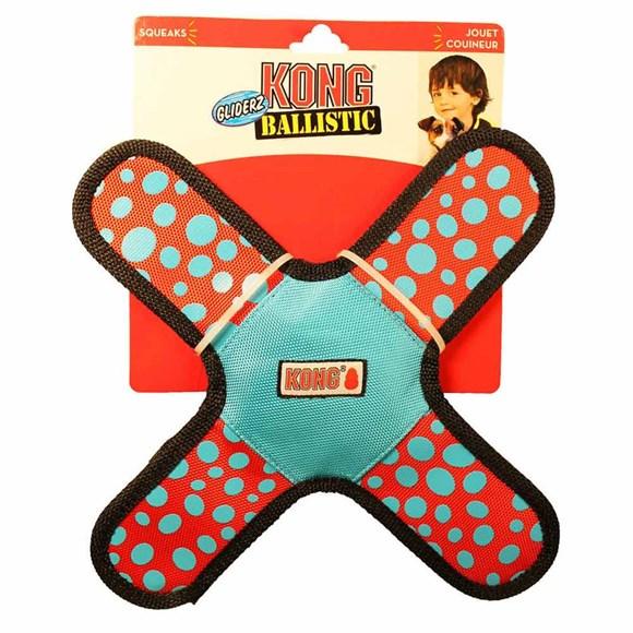 Brinquedo Balistico de Caes Kong Gliderz Assort SMA Azul Pequeno