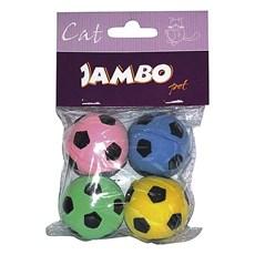 Brinquedo Gatos Jambo Cat Bolinha Futebol Com 4 Unidades