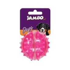 Brinquedo Mordedor Cães Bola Dura Espinho Rosa Pequeno Jambo