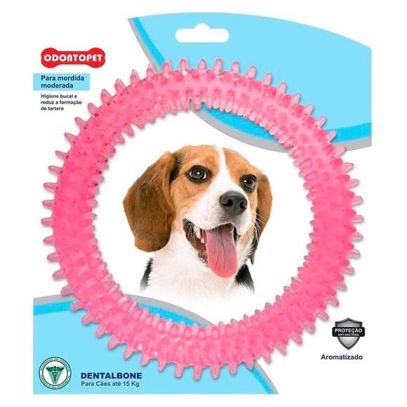Brinquedo Mordedor Dental Argola Rosa Cães Até 15Kg Odontopet