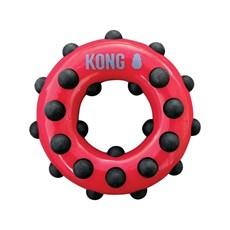 Brinquedo Mordedor Kong Dotz Circle para Caes Vermelho Pequeno