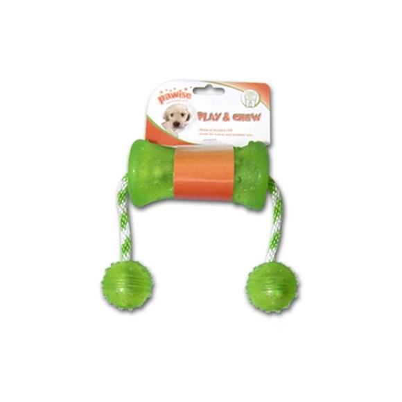 Brinquedo Mordedor para Cachorros Borracha com Corda e 2 Bolas Verde
