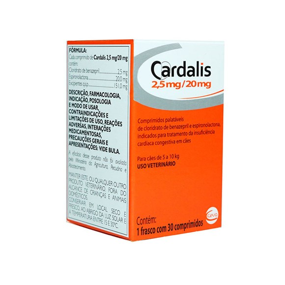 Cardalis Para Caes 5 a 10kg C/30 Comprimidos - Ceva