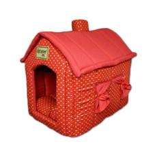 Casinha de Cachorro de Tecido Toca Chaminé Vermelho Coroinha M Agridoce