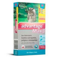 Combo Antipulgas e Carrapatos Advantage Max3 Caes 4Kg Ate 10Kg Bayer