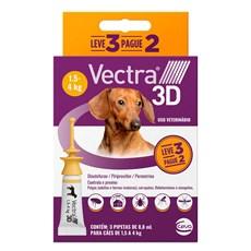 Combo Antipulgas e Carrapatos Vectra 3D Cães 1,5Kg a 4Kg