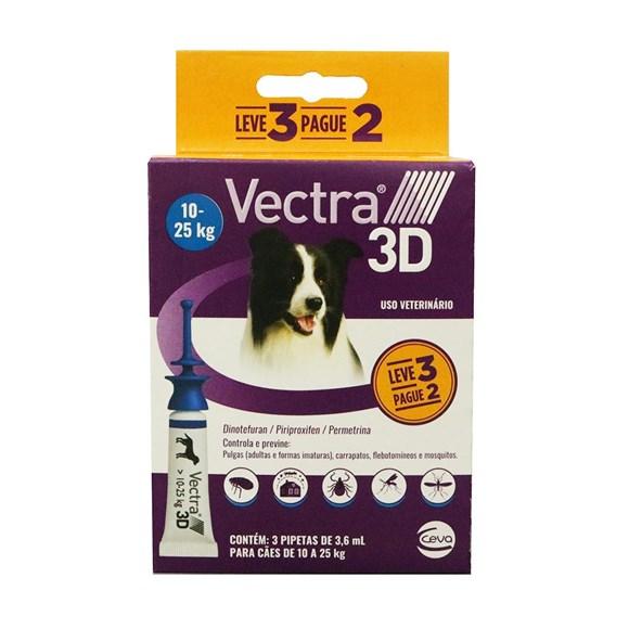 Combo Antipulgas e Carrapatos Vectra 3D Cães 10Kg a 25Kg