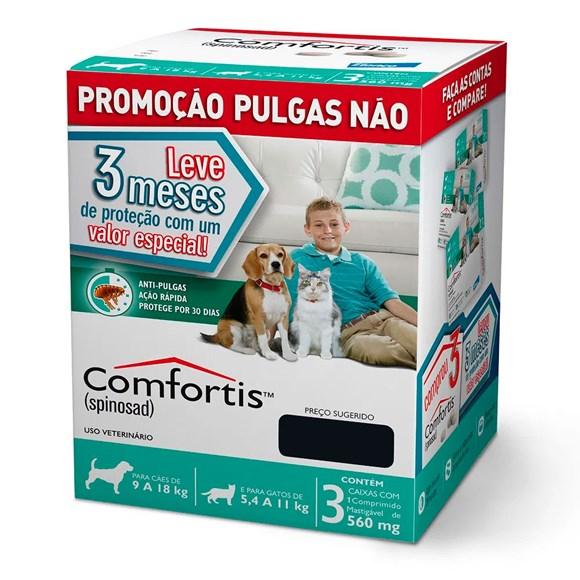 Combo Comfortis Antipulgas Cães E Gatos 560mg C/3 Unidades