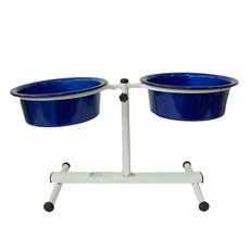 Comedouro Cães Dog Head Alumínio Duplo Regulável Color Azul Grande