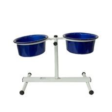 Comedouro Cães Dog Head Alumínio Duplo Regulável Color Azul Pequeno