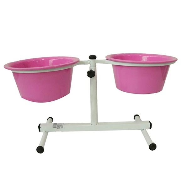 Comedouro Cães Dog Head Alumínio Duplo Regulável Color Rosa Pequeno