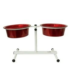 Comedouro Cães Dog Head Alumínio Duplo Regulável Color Vermelho Médio