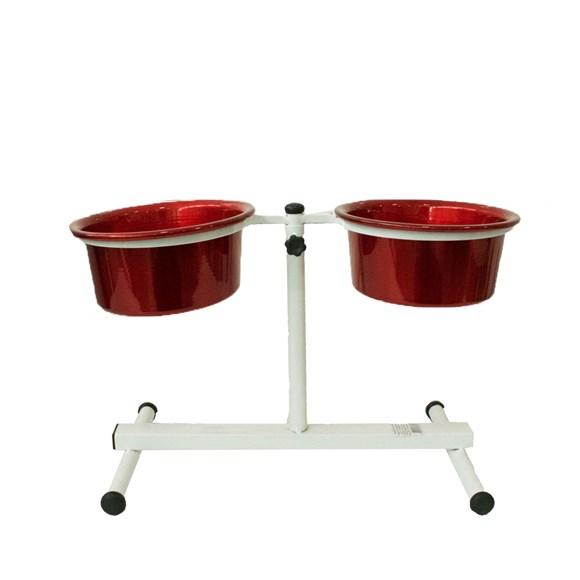 Comedouro Cães Dog Head Alumínio Duplo Regulável Color Vermelho Pequeno