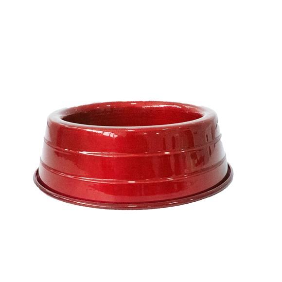 Comedouro Cães Dog Head Alumínio Leve Colorido Vermelho Médio - 1800mL