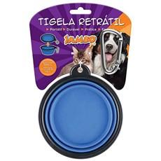 Comedouro Cães Jambo Plástico Retrátil Azul Grande