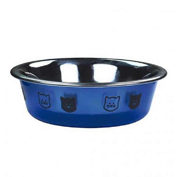 Comedouro Gatos Jambo Plástico Cristal Azul