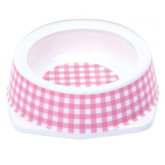 Comedouro Gatos Jambo Plástico Vichy Rosa