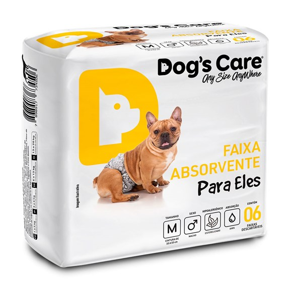 Fralda Higienica M Para Macho Dogs Care C/6 Unidades