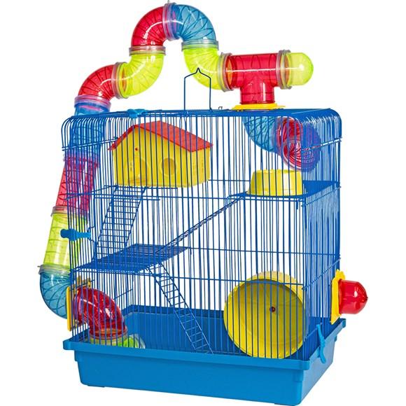 Gaiola 3 Andares Para Hamster Azul Jel Plast