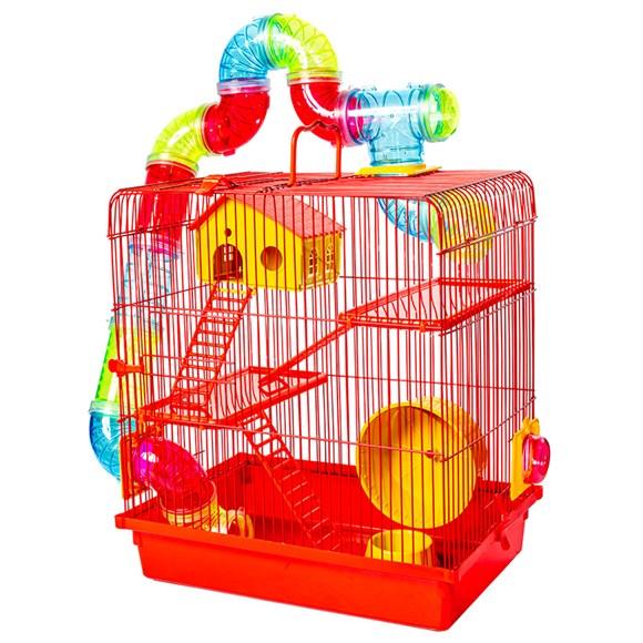 Gaiola 3 Andares Para Hamster Vermelha Jel Plast