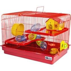 Gaiola Hamster 2 Andares Big Space Vermelha Jel Plast