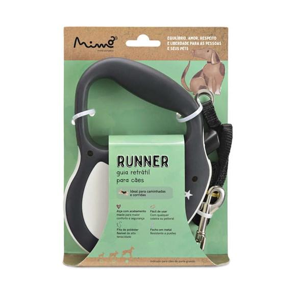Guia Retrátil Cães Mimo Runner Emborrachada Até 12kg Preto P