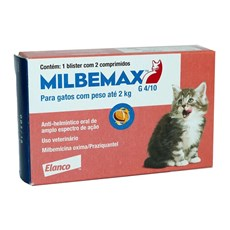 Milbemax Vermífugo para Gatos Até 2kg C/ 2 Comprimidos