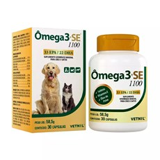 Ômega 3+SE 1100 Suplemento Vitamínico Cães e Gatos Vetnil