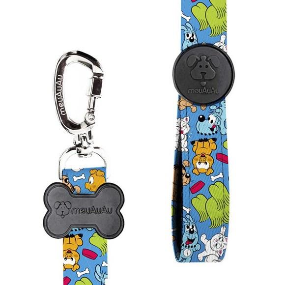 Peitoral e Guia Turma da Mônica Pets Azul MeuAuAu Para Cães – Tam M