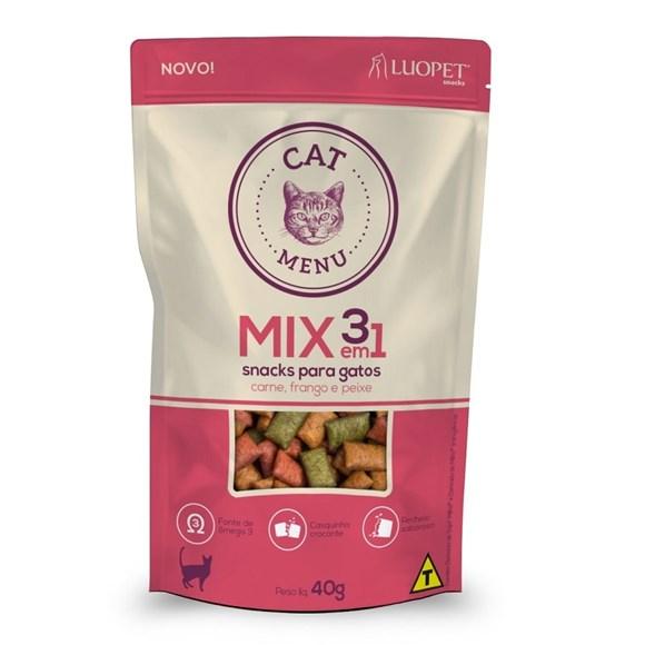 Petisco P/ Gatos Luopet Cat Menu Mix Carne Frango Peixe 40g