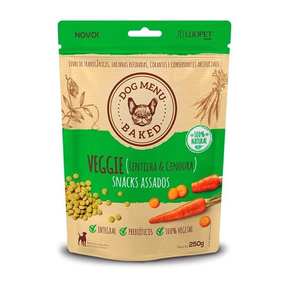 Petisco para Caes Luopet Dog Menu Baked Veggie Lentilha e Cenoura 250g