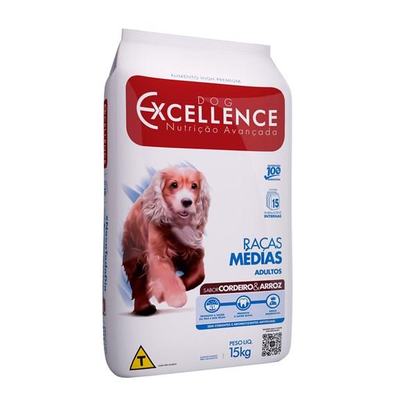 Ração Dog Excellence Adulto Raças Médias Cordeiro e Arroz - 15kg