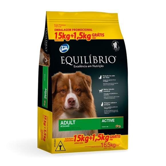 Ração Equilíbrio Active Cães Adultos Raças Médias 15kg + 1,5kg