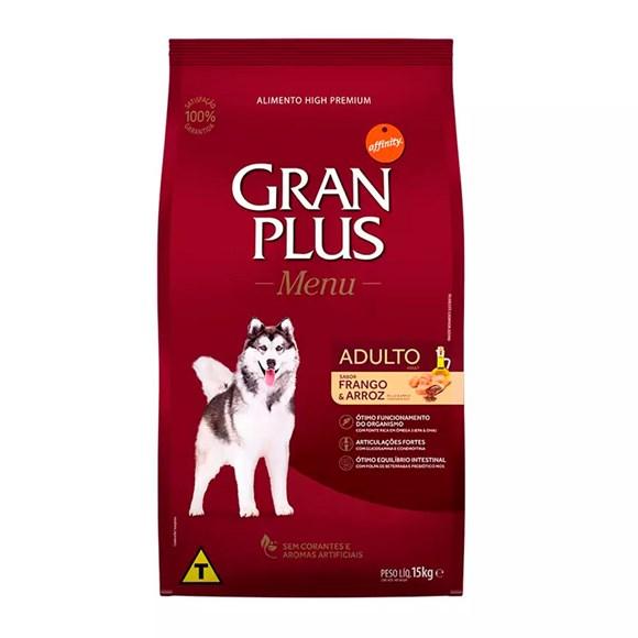 Ração Gran Plus Cães Menu Adultos Frango e Arroz - 15Kg