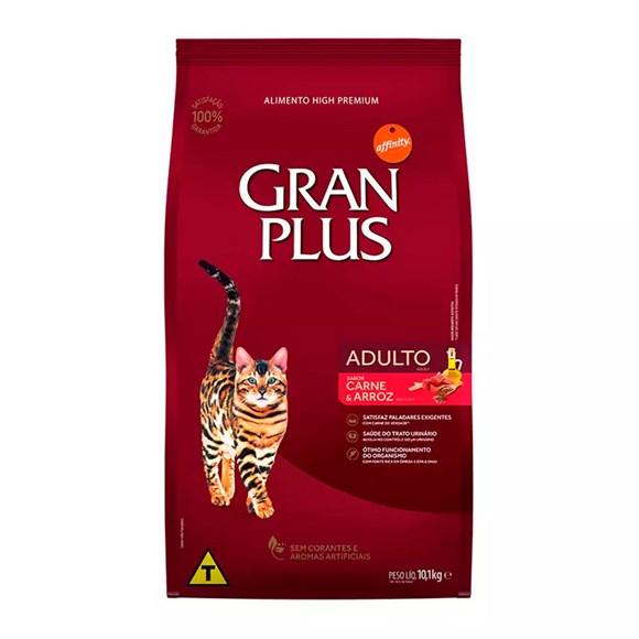 Ração Gran Plus Gatos Adultos Carne e Arroz - 10,1Kg